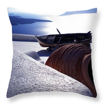 Santorini Island Early Sunset View Greece Throw Pillow