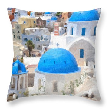 Santorini Oil Painting Throw Pillow by Antony McAulay