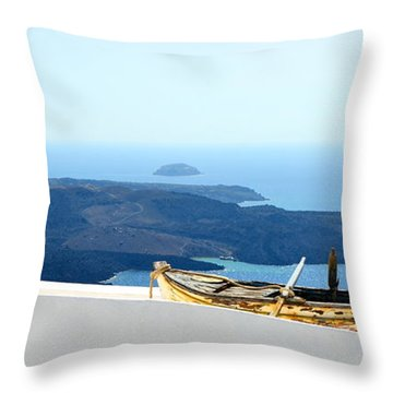 Santorini Rooftop Throw Pillow by Corinne Rhode