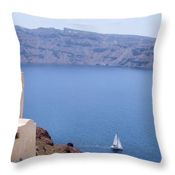 Santorini Sail Throw Pillow