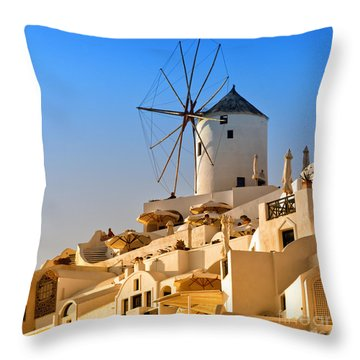 Santorini Windmill 05 Throw Pillow
