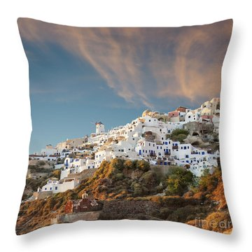 Santorini Windmill At Dusk Throw Pillow