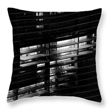 Sao Paulo - Brazil - Detail Of Copan Building By Night Throw Pillow by Carlos Alkmin
