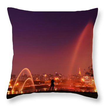 Sao Paulo - Ibirapuera Park At Dusk - Contemplation Throw Pillow