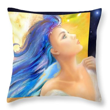 Throw Pillow featuring the painting Sapphire Charm by Michael Rock
