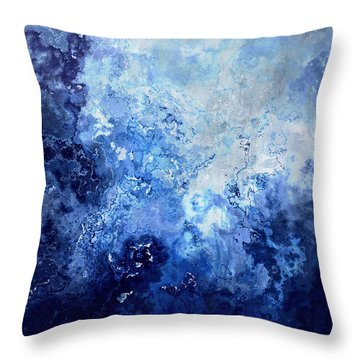 Sapphire Dream - Abstract Art Throw Pillow
