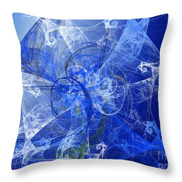 Sapphire In Blue Lace Throw Pillow by Andee Design