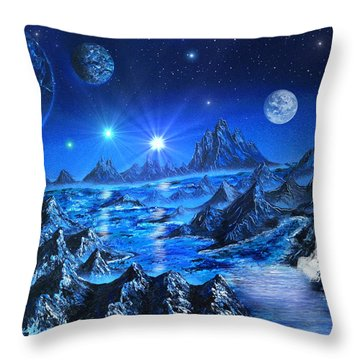 Sapphire Planet Throw Pillow