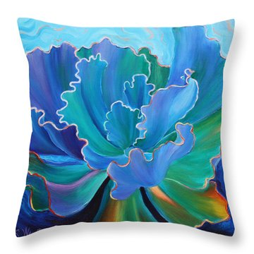 Throw Pillow featuring the painting Sapphire Solitaire by Sandi Whetzel