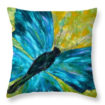 Sapphirine Butterfly Throw Pillow