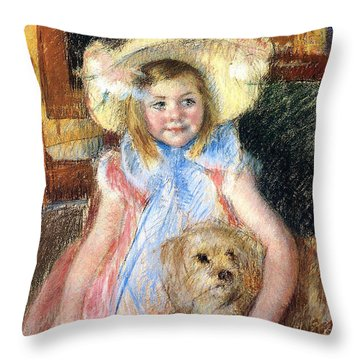 Sara And Her Dog Throw Pillow by Mary Stevenson Cassatt