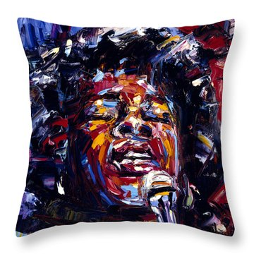 Sarah Vaughan Jazz Face Series Throw Pillow by Debra Hurd