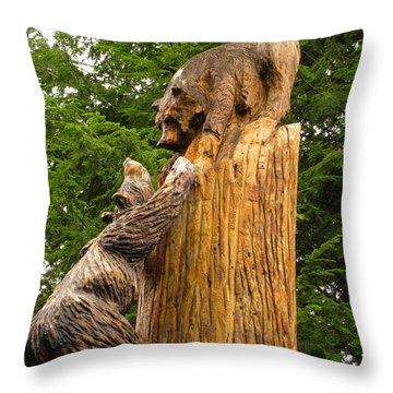 Saranac Wood Carving Throw Pillow