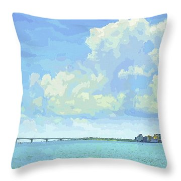 Sarasota Skyline From Sarasota Bay Throw Pillow