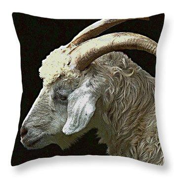 Sarge The Goat Throw Pillow by Sally Simon