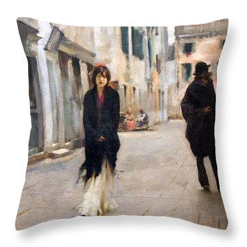 Sargent's Street In Venice Throw Pillow
