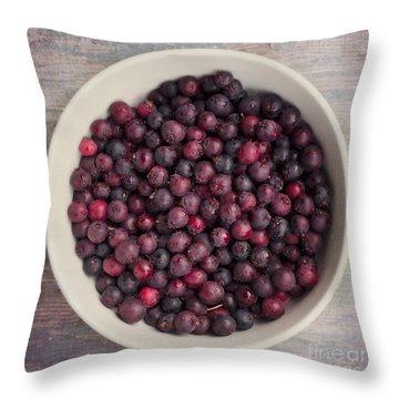 Saskatoon Berries Throw Pillow by Priska Wettstein
