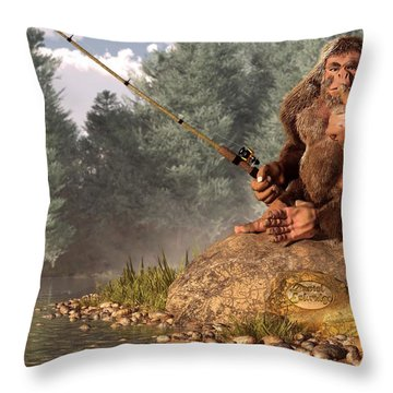 Sasquatch Goes Fishing Throw Pillow
