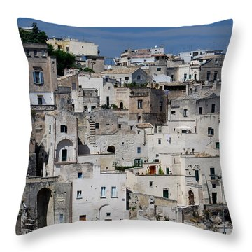 Sassi Of Matera Italy Throw Pillow by Caroline Stella
