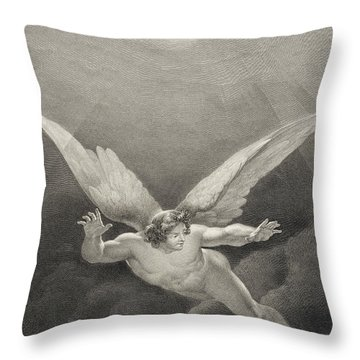 Satan Leaps Over The Walls Of Heaven Throw Pillow