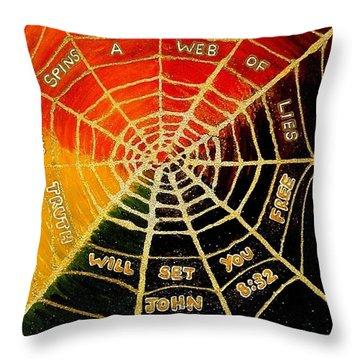 Satan's Web Of Lies Throw Pillow