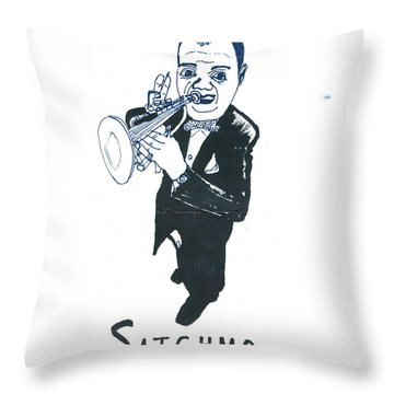 Throw Pillow featuring the drawing Satchmo by Don Koester