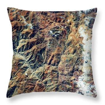 Satellite View Of Andes Mountain Range Throw Pillow
