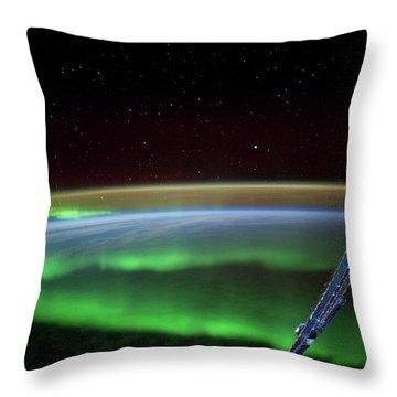 Satellite View Of Aurora Borealis Throw Pillow