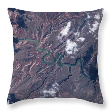 Satellite View Of Big Horn River Throw Pillow