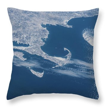 Satellite View Of Cape Cod Area Throw Pillow