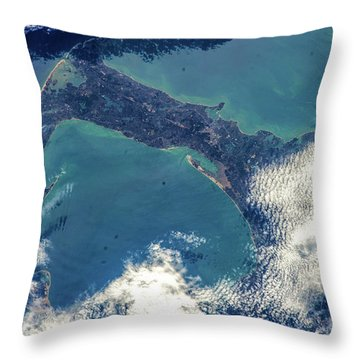 Satellite View Of Cape Cod National Throw Pillow