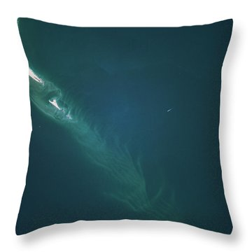 Satellite View Of Cape Lookout Area Throw Pillow