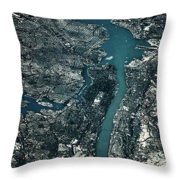Satellite View Of Cities Of New York Throw Pillow