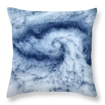 Satellite View Of Cloud Spiral Throw Pillow