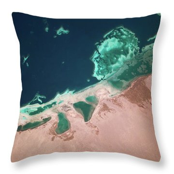 Satellite View Of Coastal Area And Red Throw Pillow