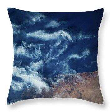 Satellite View Of Coastal Area Throw Pillow