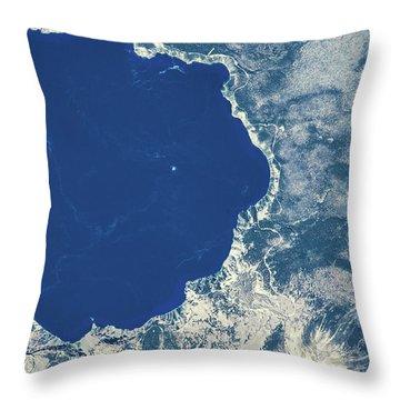 Satellite View Of Crater Lake, Oregon Throw Pillow