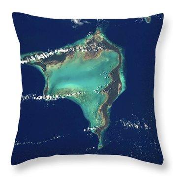 Satellite View Of Crooked Island Throw Pillow