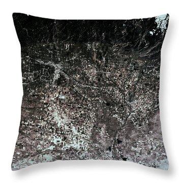Satellite View Of Denver, Colorado, Usa Throw Pillow