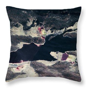 Satellite View Of Great Salt Lake Throw Pillow