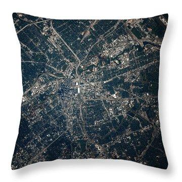 Satellite View Of Houston, Texas, Usa Throw Pillow