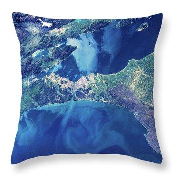Satellite View Of Istanbul With Sea Throw Pillow
