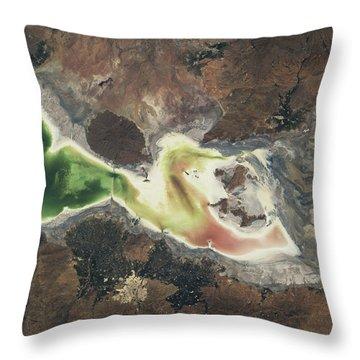 Satellite View Of Lake Urmia In East Throw Pillow