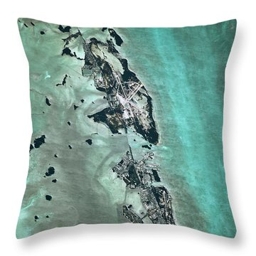 Satellite View Of Naval Air Station Throw Pillow