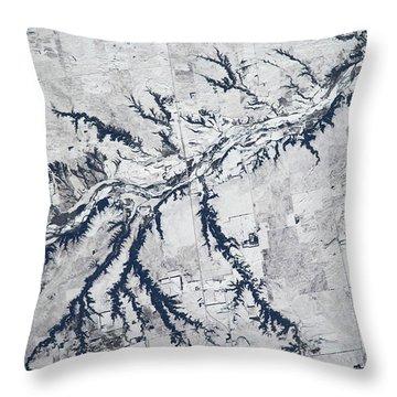 Satellite View Of Neobrara River Throw Pillow