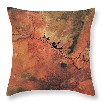 Satellite View Of Novajo Nation Throw Pillow
