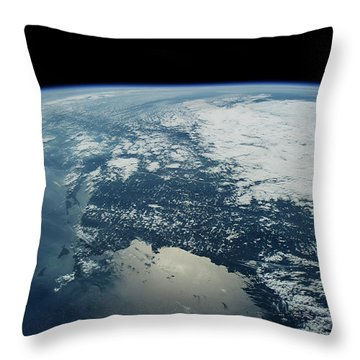 Satellite View Of Planet Earth Showing Throw Pillow