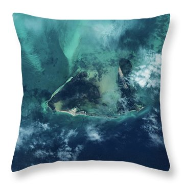 Satellite View Of West Grand Bahama Throw Pillow