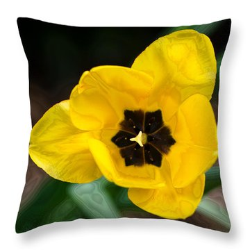 Satin Tulip Throw Pillow by Lois Bryan