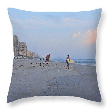 Saturday Morning Surfer Throw Pillow by Deborah Benoit